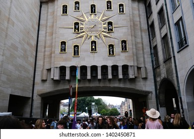 Brussels, Belgium. 18th May, 2019. View of  Le Carillon du Mont des Arts which is a Jacquemart Carillion clock with 24 bells found on a arch of the Mont des Arts.