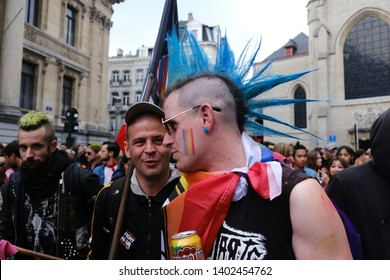 Brussels, Belgium. 18th May, 2019. People take part in the annual Belgian LGBT Pride Parade.