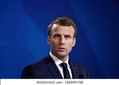 Brussels, Belgium. 18th Oct. 2018. Emmanuel Macron gives  a media conference at the conclusion of an EU summit.