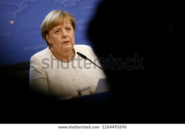 Brussels, Belgium. 18th Oct. 2018. Angela Merkel, Chancellor of Germany gives  a media conference at the conclusion of an EU summit.