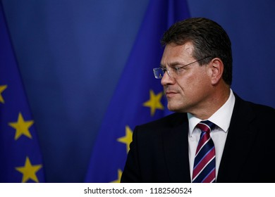 Brussels, Belgium. 18th September 2018. EU Commissioner Maros Sefcovic and German Minister of Finance, Peter Altmaier give a press briefing at the end of their meeting