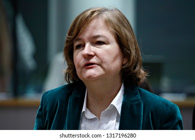 Brussels, Belgium. 19th February 2018. Nathalie LOISEAU, French Minister of European Affairs attends an European Union general Affairs Council meeting.