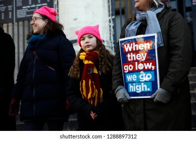Brussels, Belgium 19th January 2019. Activists gather in Bourse square during a women's march organized as part of a global day of protests,two years to the day since Trump took office as US president