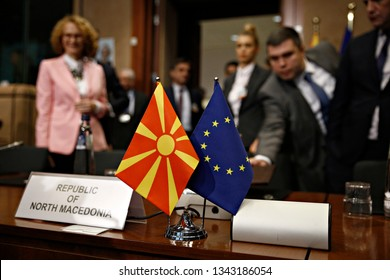 Brussels, Belgium. 19th March 2019. Prime Minister of the Republic of North Macedonia Zoran Zaev and High Representative of the EU Federica Mogherini attend in North Macedonia Association Council.