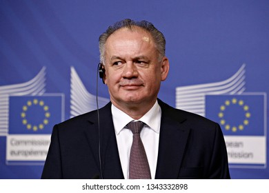 Brussels, Belgium. 19th March 2019. President of Slovakia Andrej Kiska and President of the European Commission Jean-Claude Juncker give a press conference after their meeting.