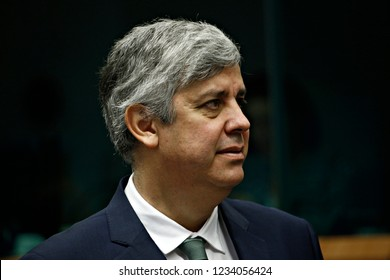 Brussels, Belgium. 19th November 2018. President of Eurogroup Mario Centenoattends an Eurogroup finance ministers meeting at the EU headquarters.