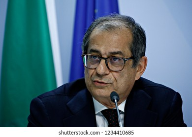 Brussels, Belgium. 19th November 2018. Italian Minister of Economy and Finance Giovanni Tria holds a news conference after a Special Eurogroup Finance Ministers' meeting.