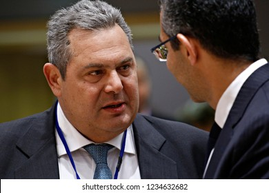 Brussels, Belgium. 19th November 2018. Greek Minister of National Defence Panos Kammenos attends in meeting of EU defense ministers at the EU headquarters