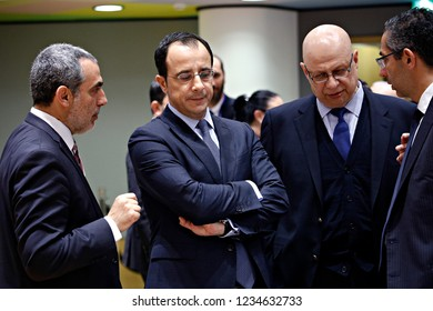 Brussels, Belgium. 19th November 2018. Minister of Foreign Affairs of the Republic of Cyprus Nicos Christodoulides attends in meeting of EU defense ministers at the EU headquarters.