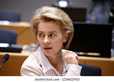 Brussels, Belgium. 19th November 2018. German Defense Minister Ursula von der Leyen attends in meeting of EU defense ministers at the EU headquarters.