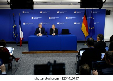 Brussels, Belgium. 19th November 2018.French Economy Minister Bruno Le Maire and German Finance Minister Olaf Scholz hold a news conference  after a Special Eurogroup Finance Ministers' meeting.