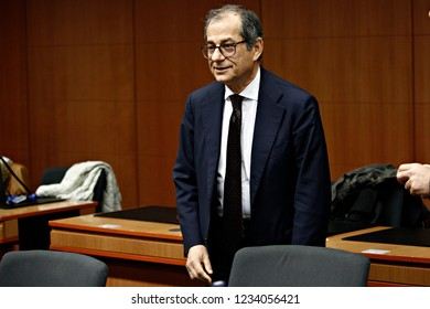 Brussels, Belgium. 19th November 2018.Italian Minister of Economy and Finance Giovanni Tria attends an Eurogroup finance ministers meeting at the EU headquarters.