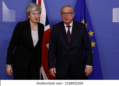 Brussels, Belgium. 20th Feb. 2018. Meeting between Prime Minister of the United Kingdom Theresa May and European Commission President Jean-Claude Juncker at the EU Commission headquarters.