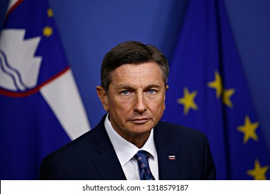 Brussels, Belgium. 20th February 2019. President of the European Commission Jean-Claude Juncker and President of Slovenia Borut Pahor hold a joint press conference after their meeting.
