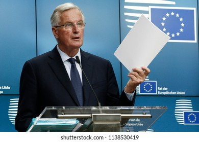 Brussels, Belgium. 20th July 2018. EU's chief Brexit negotiator Michel Barnier holds a news conference after an EU's General Affairs Council