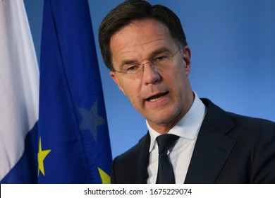 Brussels, Belgium. 21st Feb. 2020.  Prime Minister of Netherlands,  Mark Rutte speaks during a press conference following the EU leaders summit.