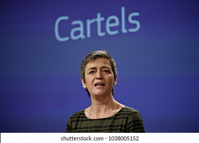 Brussels, Belgium. 21st February, 2018. European Union Commissioner of Competition Margrethe Vestager gives a joint press on three separate cartel decisions at the European Union Headquarters.
