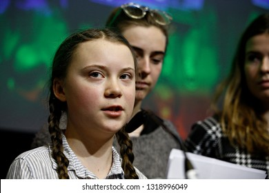 Brussels, Belgium. 21st February 2019. Sixteen year-old Swedish climate activist Greta Thunberg attends in  the European Economic and Social Committee event.