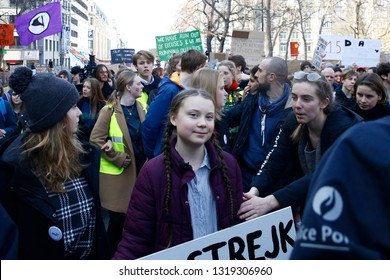 Brussels, Belgium. 21st February 2019. Swedish 16-years-old climate activist Greta Thunberg takes part in a march for the environment and the climate organised by students