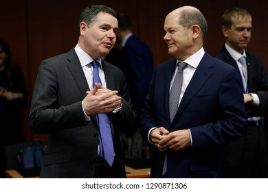 Brussels, Belgium. 21st January 2019. Minister of Finance of Germany, Olaf Scholz attends in Eurogroup finance ministers meeting at the EU headquarters.