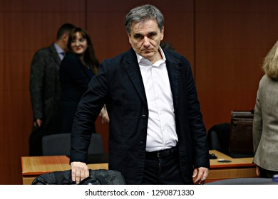 Brussels, Belgium. 21st January 2019. Finance Minister of Greece Euclid Tsakalotos  attends in Eurogroup finance ministers meeting at the EU headquarters.