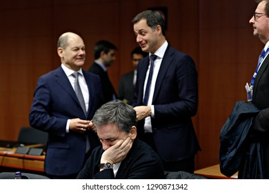 Brussels, Belgium. 21st January 2019. Belgian Finance Minister Alexander De Croo attends in Eurogroup finance ministers meeting at the EU headquarters.