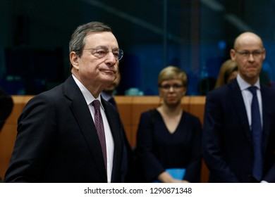 Brussels, Belgium. 21st January 2019. President of the European Central Bank, Mario Draghi  attends in Eurogroup finance ministers meeting at the EU headquarters.