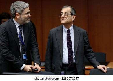 Brussels, Belgium. 21st January 2019. Italian Minister of Economy and Finance Giovanni Tria attends in Eurogroup finance ministers meeting at the EU headquarters.