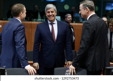 Brussels, Belgium. 21st January 2019. President of Eurogroup Mario Centeno attends in Eurogroup finance ministers meeting at the EU headquarters.