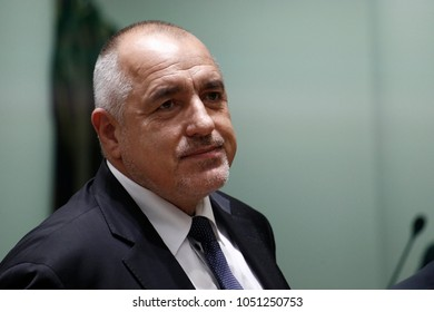 Brussels, Belgium. 21st March 2018.Bulgarian Prime Minister Boyko Borissov attends in  a tripartite social summit at the Europa building.