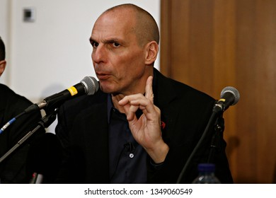 Brussels, Belgium. 21st March 2019. Yanis Varoufakis, lead Member of European Parliament candidate for the movement European Spring attends in press conference.