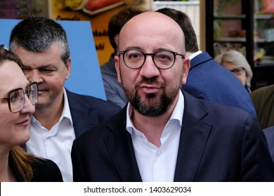 Brussels, Belgium. 21st May 2019. Belgian Prime Minister Charles Michel attends in a press meeting of French-speaking liberals MR and Flemish liberals Open Vld on their common priorities.