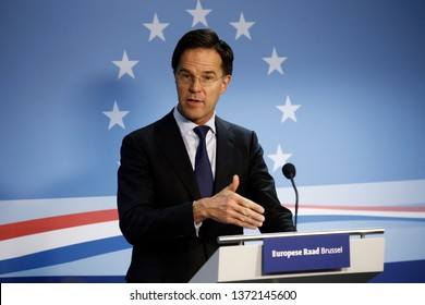 Brussels, Belgium. 22nd Mar. 2019. Prime Minister of Netherlands,  Mark Rutte  speaks during a press conference following the EU leaders summit.