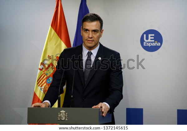 Brussels, Belgium. 22nd Mar. 2019. Spanish Prime Minister Pedro Sanchez speaks during a press conference following the EU leaders summit.