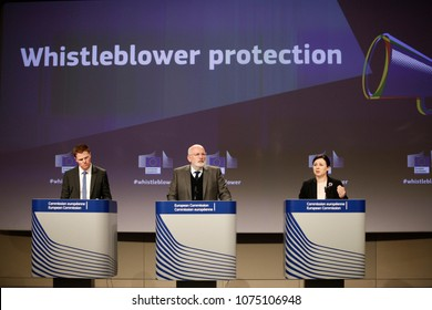 Brussels, Belgium. 23rd April 2018.Vice-President Frans Timmermans and EU Commissioner Vera Jourova hold a news conference on the  proposal concerning the protection of whistleblowers