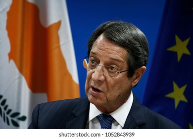 Brussels, Belgium. 23rd March 2018. Nicos Anastasiades, President of Cyprus gives  a media conference at the conclusion of an EU summit.