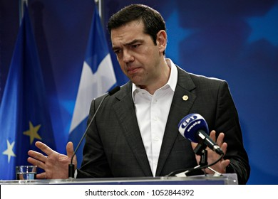 Brussels, Belgium. 23rd March 2018. Greek Prime Minister Alexis Tsipras gives  a media conference at the conclusion of an EU summit.