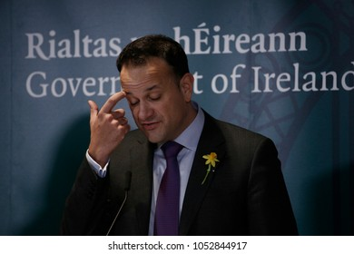 Brussels, Belgium. 23rd March 2018. Irish Prime Minister Leo Varadkar gives  a media conference at the conclusion of an EU summit.