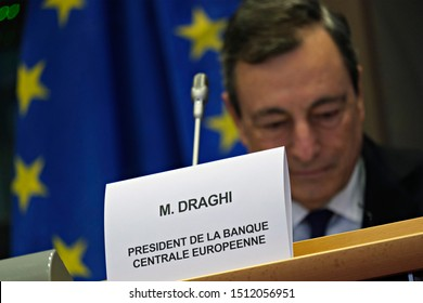 Brussels, Belgium. 23rd September 2019. President of the European Central Bank (ECB) Mario Draghi during a hearing by European Parliament committee on economic and monetary Affairs.