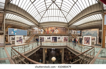 BRUSSELS, BELGIUM - 24 APRIL, 2016: Art Nouveau palace and Belgian Comic Strip Center. Art Nouveau in Brussels and comics in Belgium is a world phenomenon. Building designed by Victor Horta