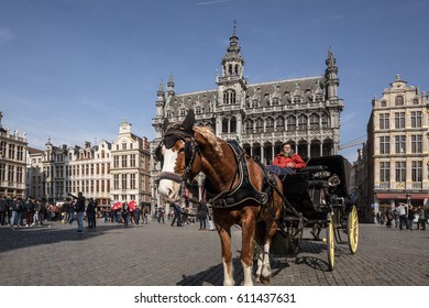 Brussels, Belgium- 24 March 2017 - Brussels City Museum and a horse drawn carriage for tourism