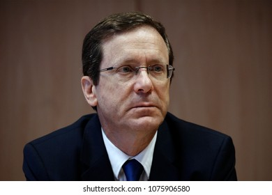 Brussels, Belgium. 24th April 2018.Israeli Opposition Leader and Zionist Union Chairman Isaac Herzog attends in debate about  EU-Israel relations.