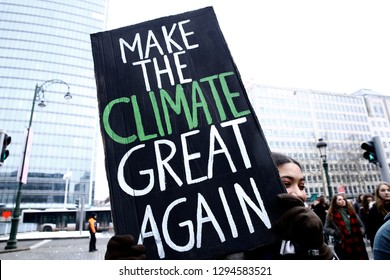 Brussels, Belgium. 24th January 2019. Belgian students claim for urgent measures to combat climate change during a demonstration.