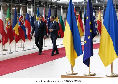 Brussels, Belgium. 24th May 2018.Donald Tusk, the president of the European Council  welcomes Volodymyr Groysman, Prime Minister of Ukraine at European Council headquarters.