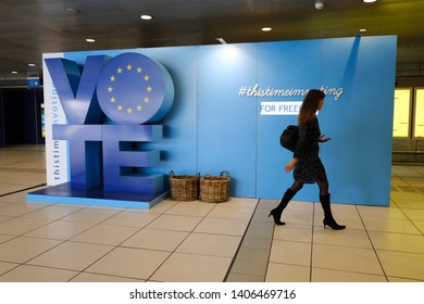 Brussels, Belgium. 24th May 2019.A campaign area to encourage EU citizens to vote in the European Parliament elections on display near to EU Parliament.