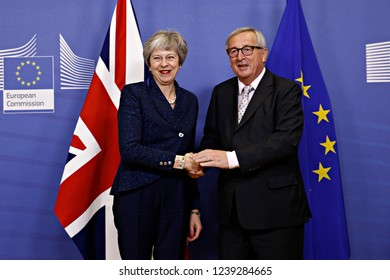 Brussels, Belgium. 24th Nov 2018. Meeting between Prime Minister of the United Kingdom Theresa May and European Commission President Jean-Claude Juncker at the EU Commission headquarters.
