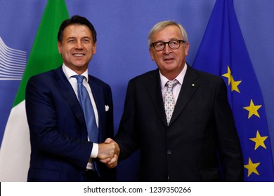 Brussels, Belgium. 24th Nov 2018. Meeting between Italian Prime Minister Giuseppe Conte  and European Commission President Jean-Claude Juncker at the EU Commission headquarters.