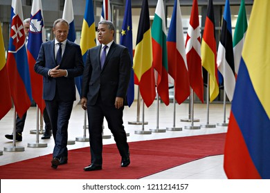Brussels, Belgium. 24th October, 2018. Donald Tusk, the President of the European Council  welcomes the Colombian President Ivan Duque Marquez at European Council headquarters.