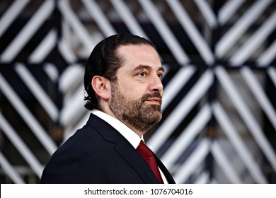 Brussels, Belgium. 25th April 2018. Lebanon's Prime Minister Saad Hariri  arrives at an international conference on the future of Syria and the region.
