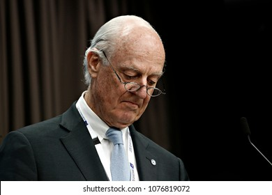 Brussels, Belgium. 25th April 2018. Staffan de MISTURA, United Nations Special Envoy for Syria gives a press conference at the results of international conference on the future of Syria and the region